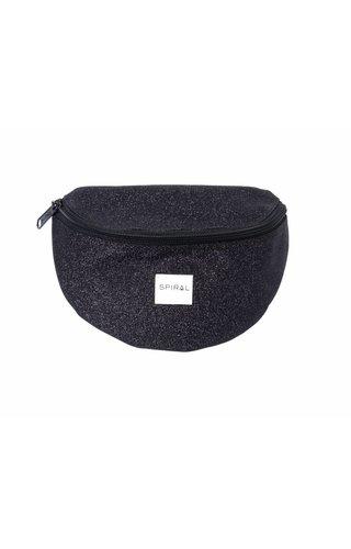 Spiral Black Glitter Bum Bag