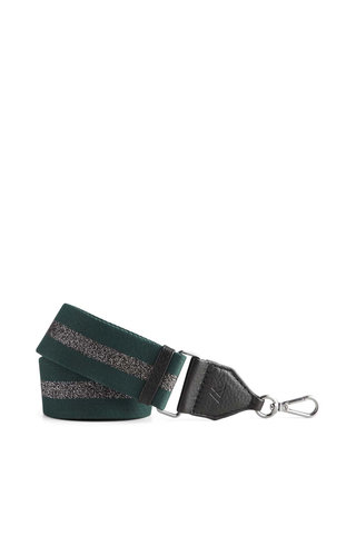 MarkBerg Finley Guitar Strap Black w/Dark Green+Gunmetal Metallic