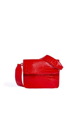 Hvisk Cayman Shiny Strap Bag Red
