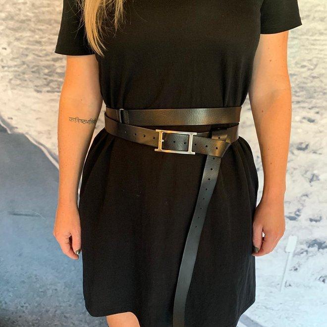 Double waist belt black