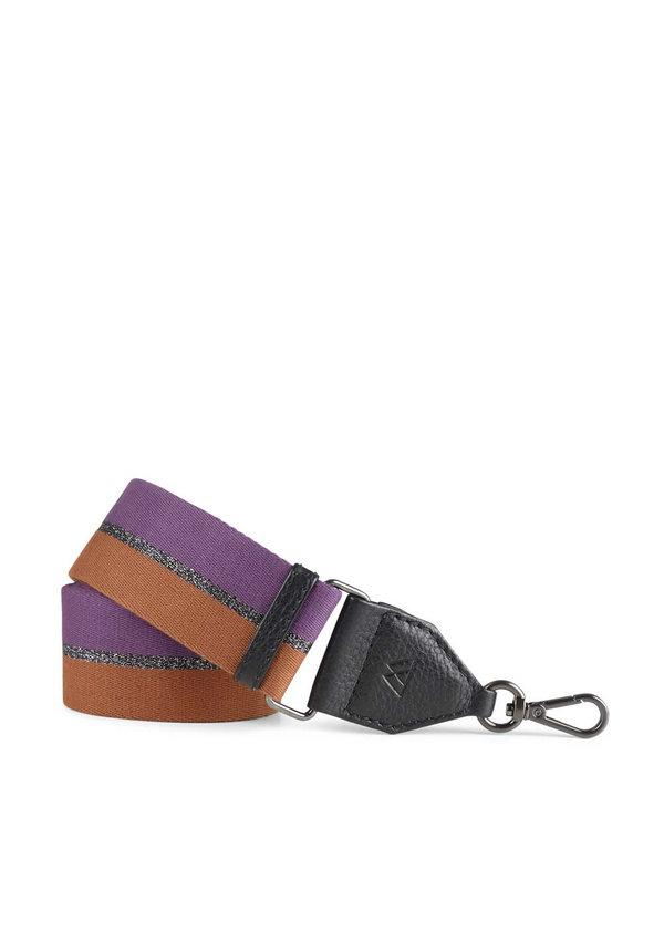 Finley Guitar Strap Black w/ Purple+Gunmetal+Chestnut