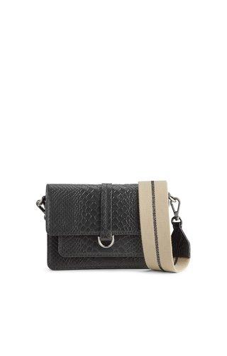 MarkBerg Milena Crossbody Bag Snake Black w/Camel + Gunmetal Strap