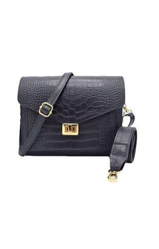 Number Five Beau Bag Croco Zwart