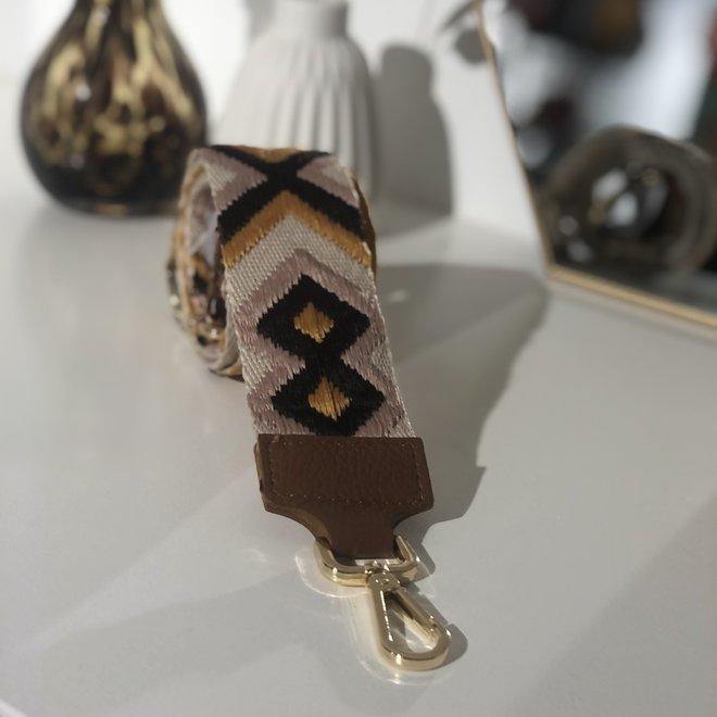 Big Aztec Bag Strap Okergeel/Cognac