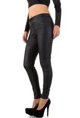 Damen Jeans von Daysie Lederoptik schwarz