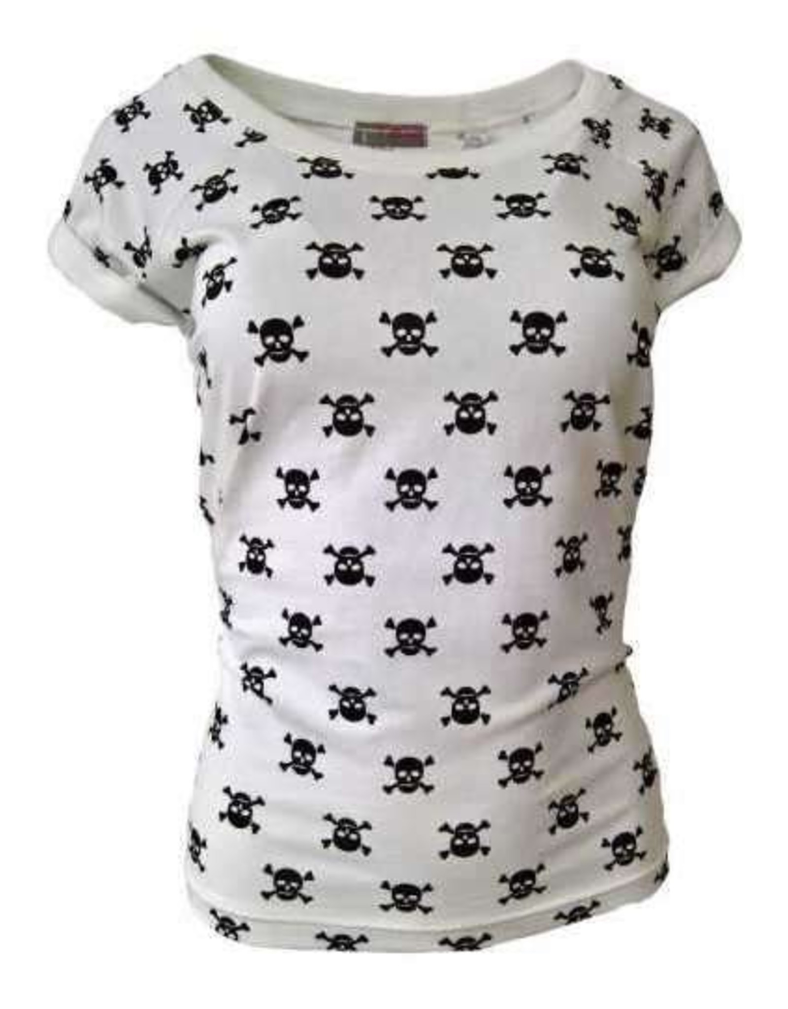 "Damen T-Shirt ""Totenkopf"" in weiß"