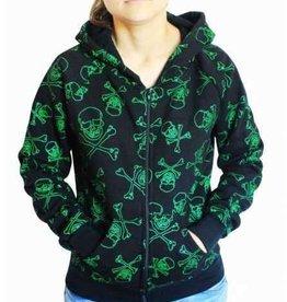 Kapuzensweatjacke mit Reissverschluss grün