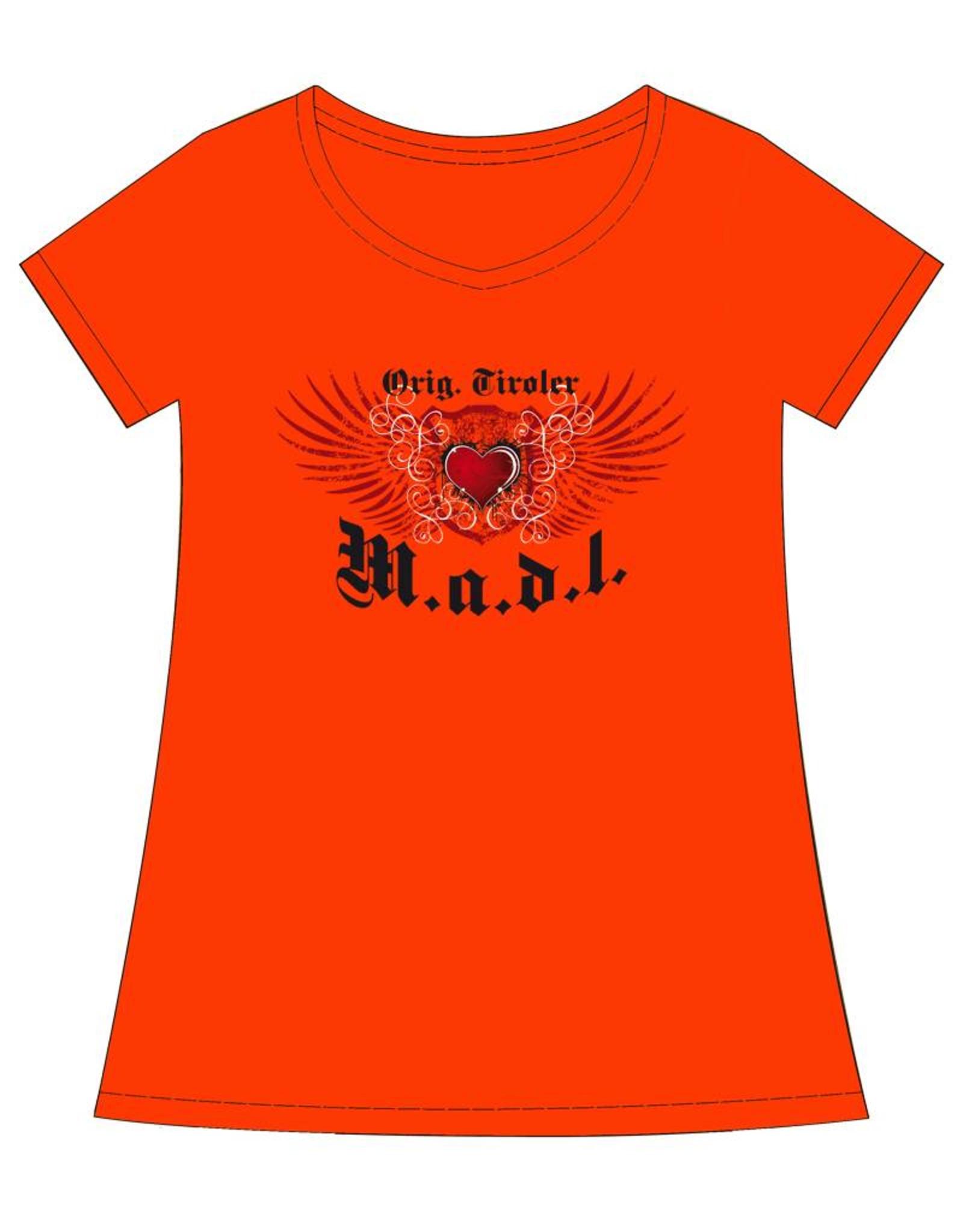 """Damen T-Shirt """"Orig. Tiroler Madl"""" orange"""