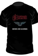 Saxon Denim And Leather T-Shirt