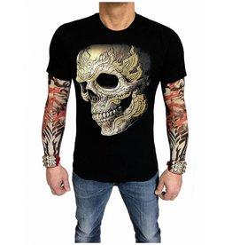 Biker T-Shirt  gepiercter Totenkopf