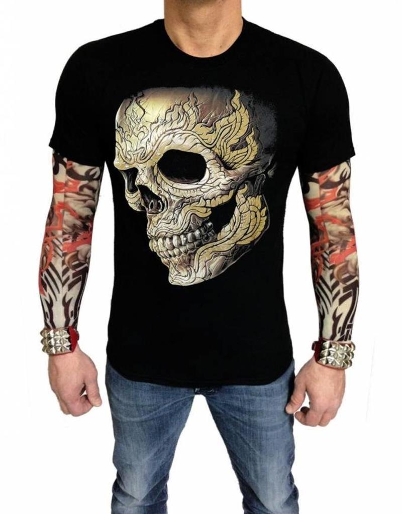 Biker T-Shirt Rocker gepiercter Totenkopf (Glow in the Dark)