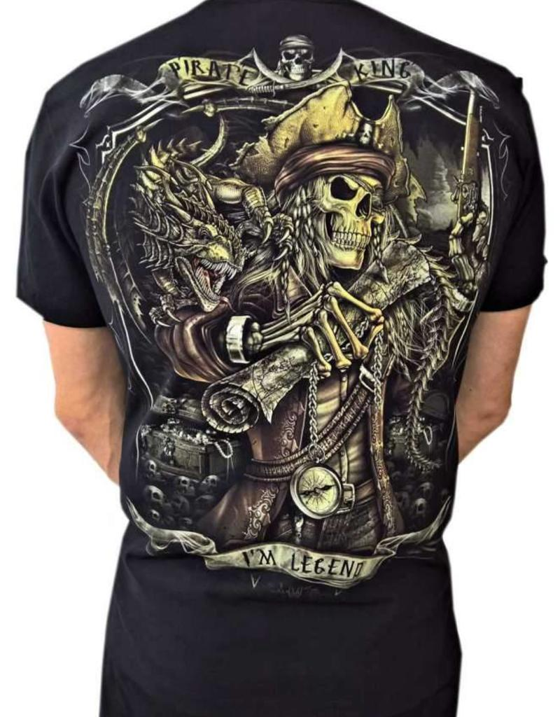 Biker T-Shirt Legendärer Piratenkönig (Glow in the Dark)