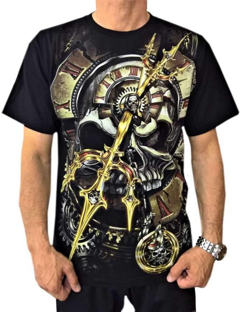 Biker T-Shirt Legendärer Piratenkönig Uhrwerk Totenkopf (Glow in the Dark)
