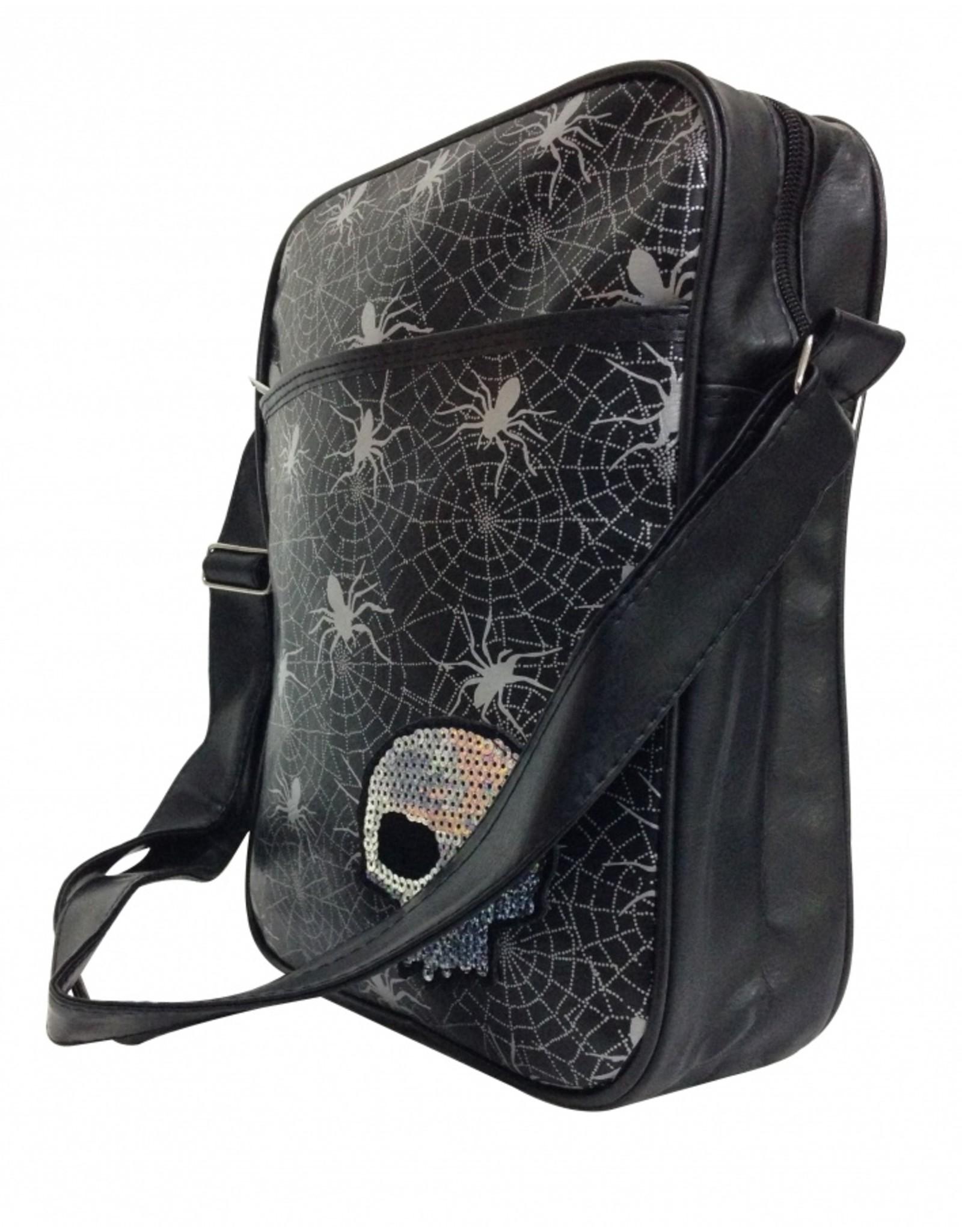 Totenkopf Spinnen Schultertasche in schwarz