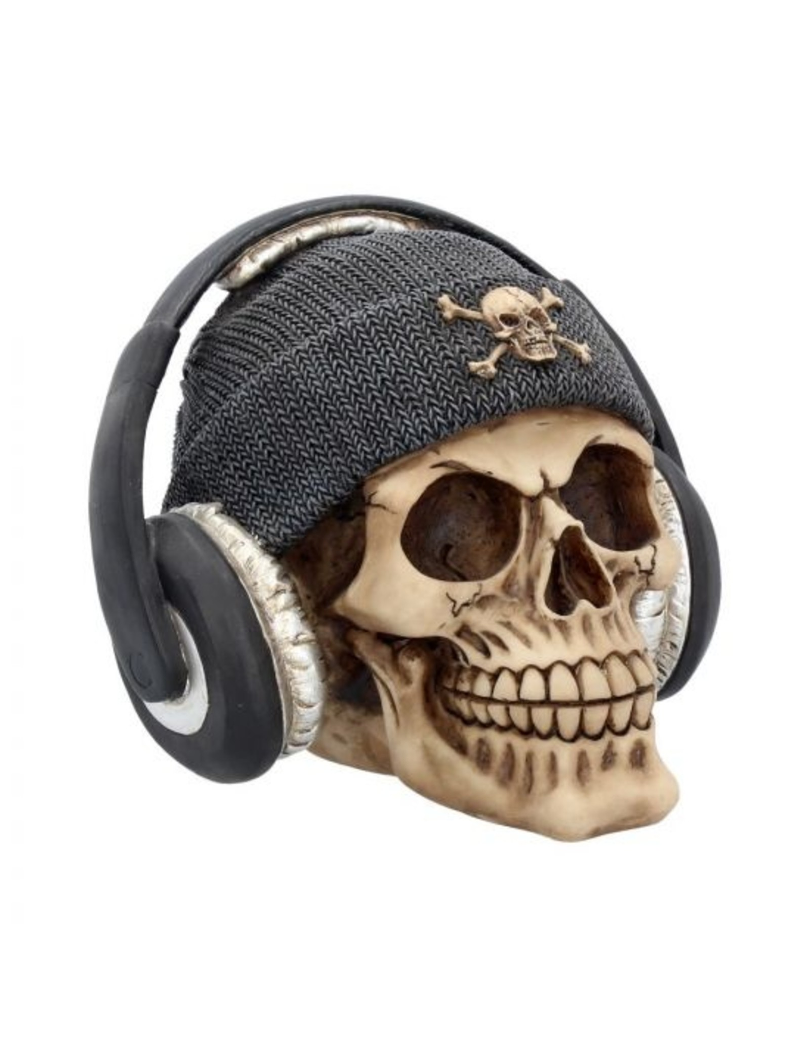 Totenkopf mit Kopfhörern Dead Beat (Grau) 17cm