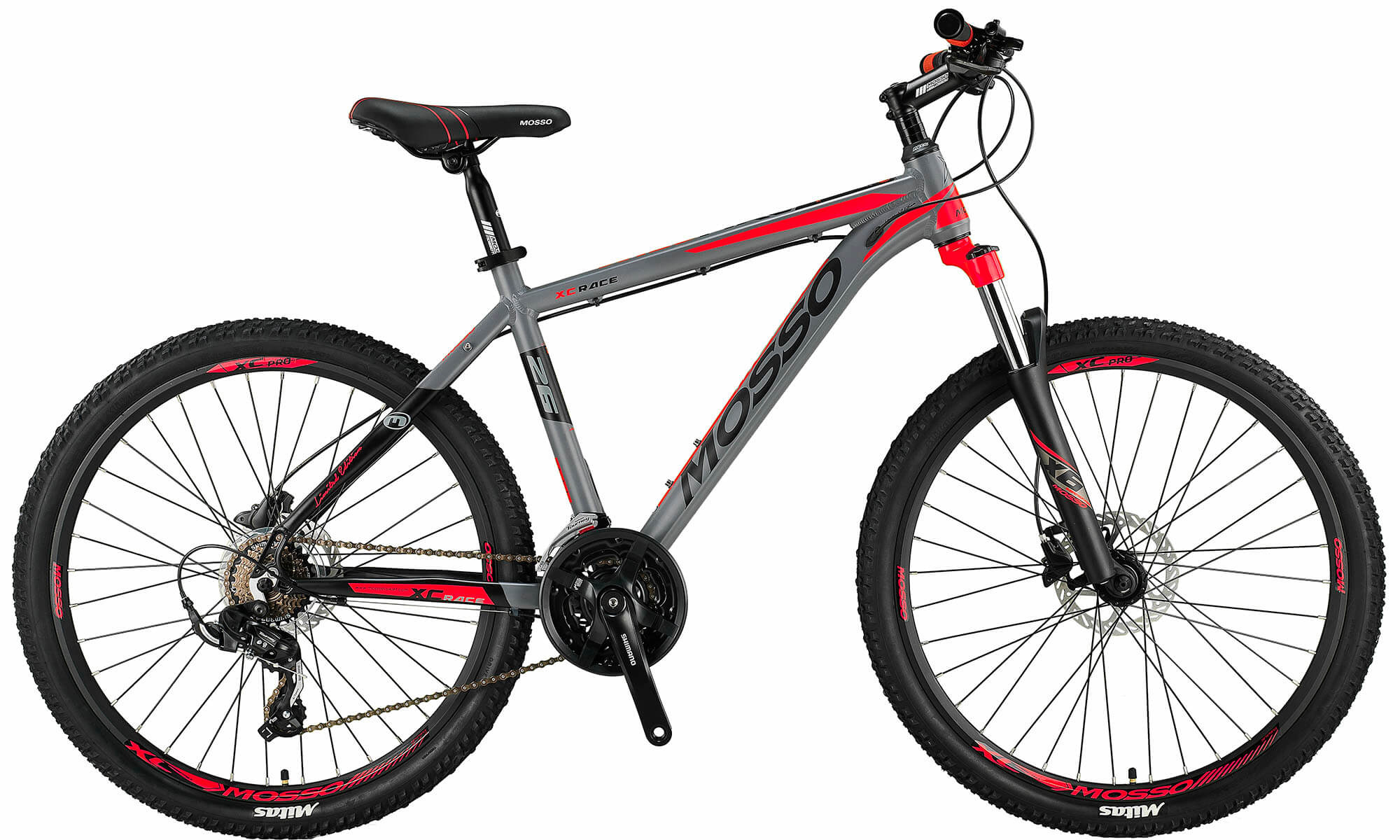 Altec Mosso Wildfire Mountainbike 26 inch 21v HYDR Grijs Rood