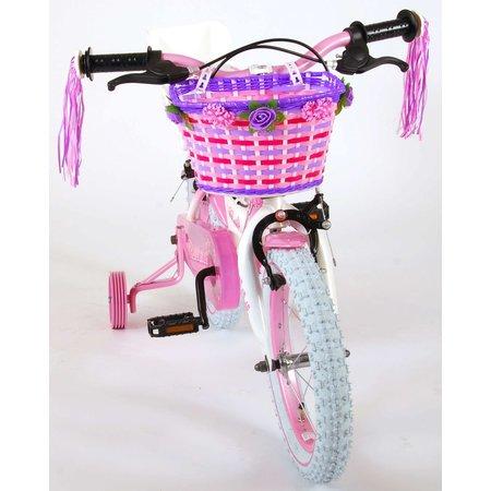 Volare Rose Kinderfiets - Meisjes - 14 inch - Roze Wit - 2 handremmen