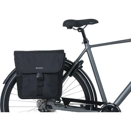 Basil fietstas dubbel Go solid zwart