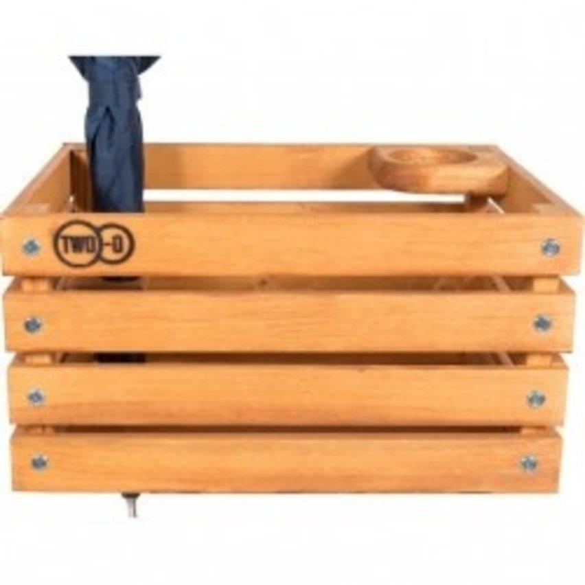 Two-O krat The Stormchaser houten krat, met koffiebeker- en parapluhouder