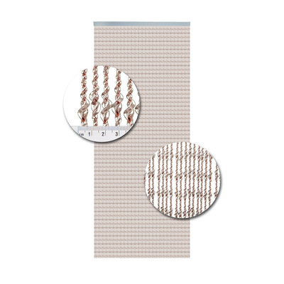 Deurgordijn PVC Pisa Transparant-Wit-Rood