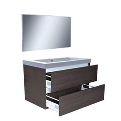Vision meubelset met spiegel 80 cm houtnerf grijs