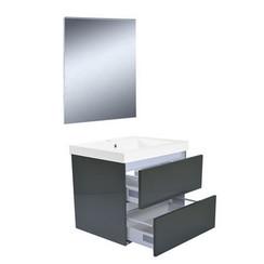 Vision meubelset met spiegel 60 cm hoogglans grijs