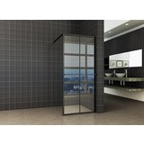 Wiesbaden inloopdouche zwart raster+handdoekhouder 900x2000 10mm nano glas