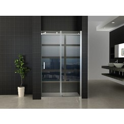 schuifbare nisdeur 2-deuren 140x200 chroom
