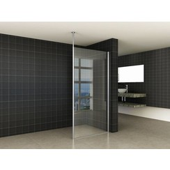 set verticale stabilisatiestang+plafond bevestiging chroom 10mm glas