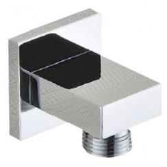 luxe messing muur doucheaansluiting vierkant 1/2'' chroom