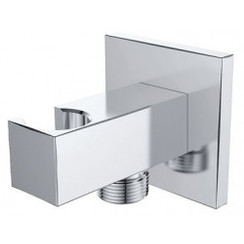 luxe muur doucheaansluiting+opsteek vierkant 1/2'' chroom