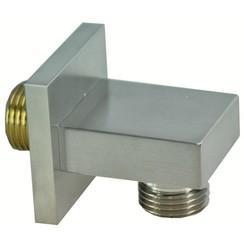 luxe messing muur doucheaansluiting vierkant 1/2'' geborsteld staal
