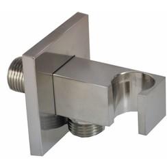 luxe muur doucheaansluiting+opsteek vierkant 1/2'' geborsteld staal