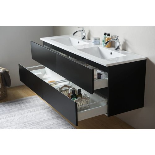 Sem Makalu badkamermeubel 150x46cm antraciet mat zwart met 4 softclosing laden