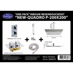"Best-Design ""One pack"" inbouw-regendoucheset & Inb.box ""Piazza vierkant P-200x200"""