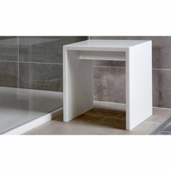 Solid Surface Cubic bankje wit, 450x450x500 mm