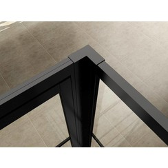Horizon koppelset voor inloopdouche met nisdeur+paneel matzwart