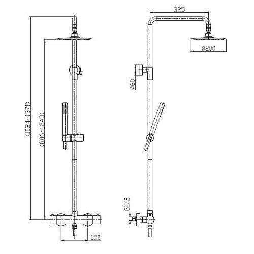 Wiesbaden 304 RVS douche-opbouwset + therm. kraan matzwart