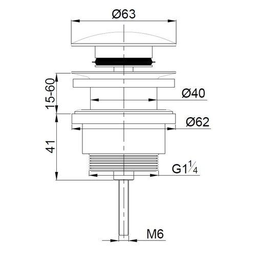 Wiesbaden Luxe afvoerplug 5/4 laag model geborsteld messing