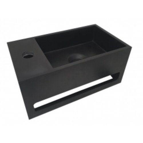 Wiesbaden Julia fontein Solid Surface 35 x 20 x 16 cm mat zwart links