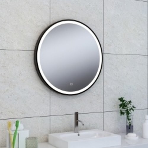 Wiesbaden Maro spiegel 600mm rond + Led matzwart