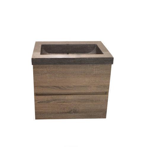 Sem Makalu badmeubel 60x46cm cottage oakmet hardsteen blad met 1 kraangat