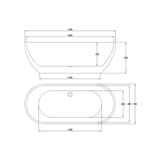 Sem Trinidad acryl vrijstaand bad 170x75x58cm hoogglans wit