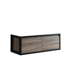 Industrial badmeubel onderkast 120x46cm cottage oak inclusief metalen hangers zwart en zonder blad