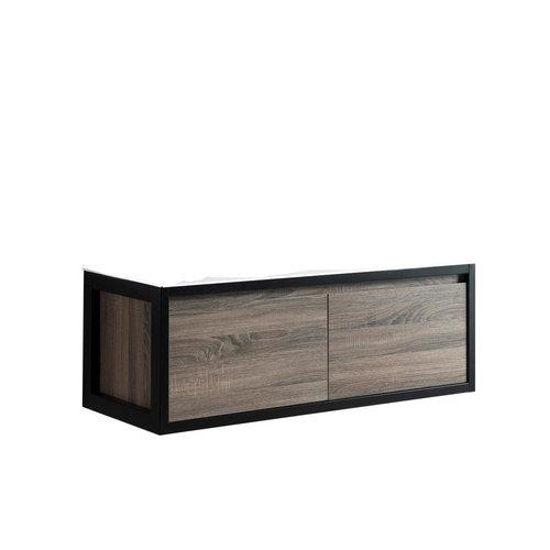 Sem Industrial badmeubel 120x46cm c0ottage oak inclusief metalen hangers zwart en zonder blad