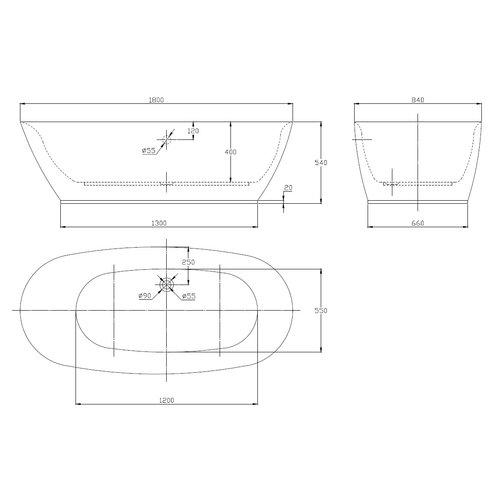 Sem Geneva acryl vrijstaand bad 180x84x54cm wit