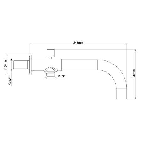 Wiesbaden inbouw-baduitloop met omstel rond 23cm chroom