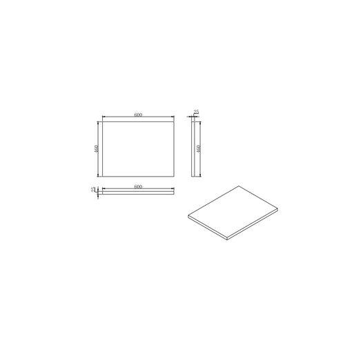 Sem Makalu topblad antraciet/mat zwart 60x46cm