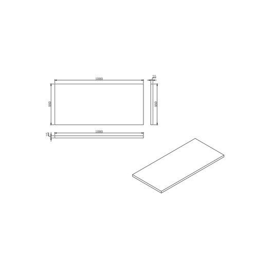 Sem makalu topblad antraciet/mat zwart 100x46cm