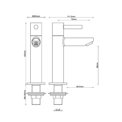 Wiesbaden Amador XL toiletkraan hoog 1/2''mat-zwart